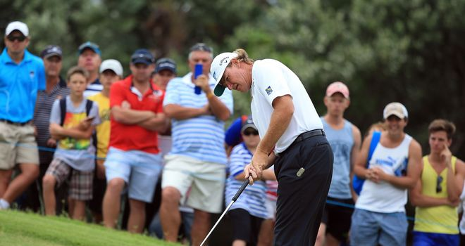 Ernie Els putting during his opening four-under 68