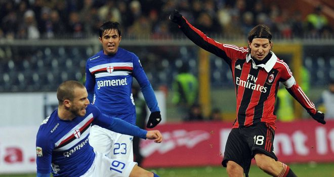 Giampaolo Pazzini gets a show away against Sampdoria