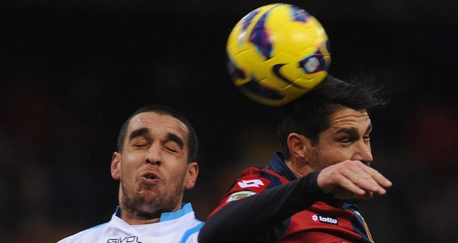 Giuseppe Bellusci and Marco Borriello in aerial battle