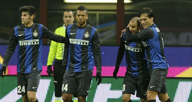 Rodrigo Palacio is congratuled after his Inter goal