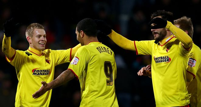 Matej Vydra celebrates with his Watford team-mates