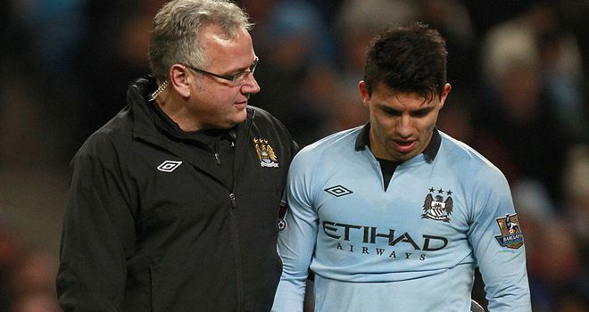 Sergio Aguero: Limps out of Manchester City's 3-0 win over Stoke