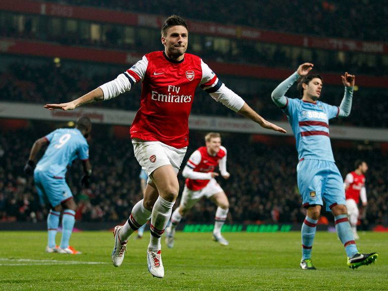 Olivier Giroud scored two goals for Arsenal