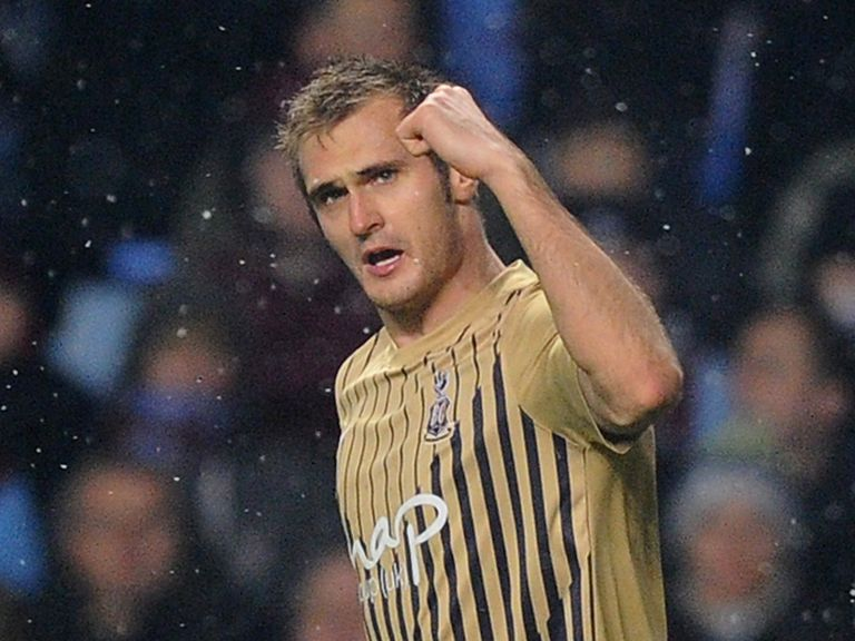 James Hanson of Bradford celebrates against Villa