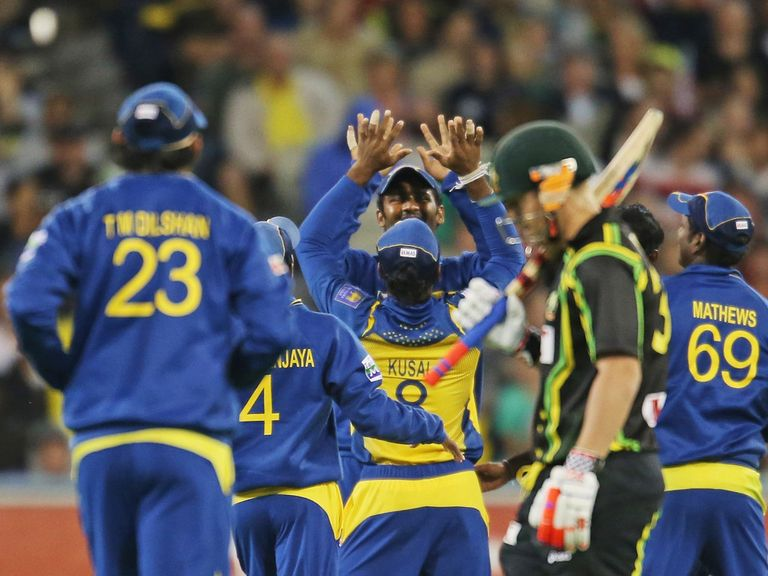 Sri Lanka celebrate the departure of David Warner