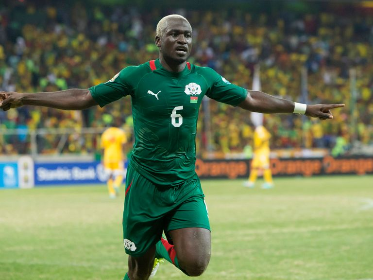 Djakaridja Kone celebrates for Burkina Faso