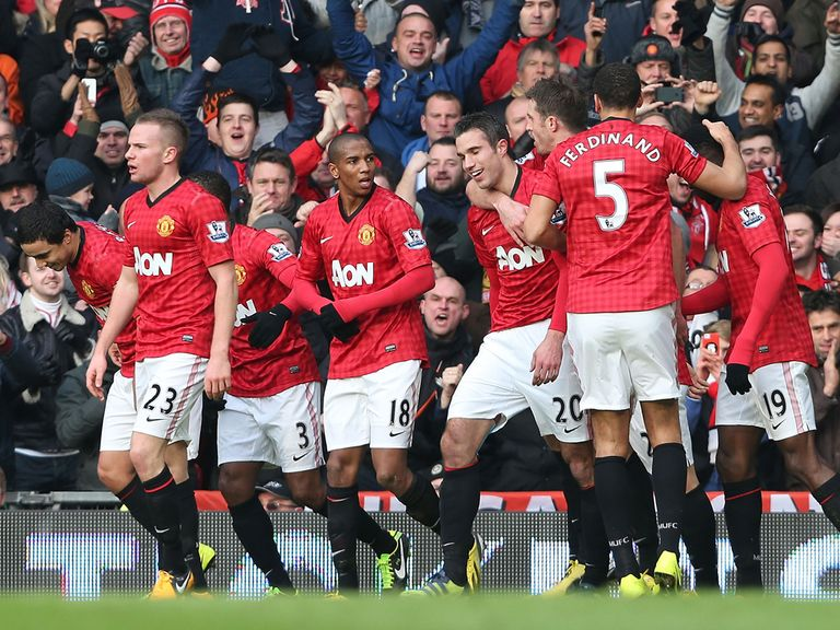 Van Persie is congratulated after opening the scoring