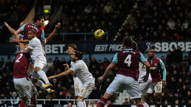 Andy Carroll: Scored a trademark header in the 77th minute to defeat Swansea City at Upton Park
