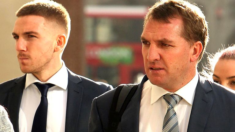 Anton Rodgers (l): With father Brendan in February, when a previous jury was discharged after failing to reach verdicts on all but one count