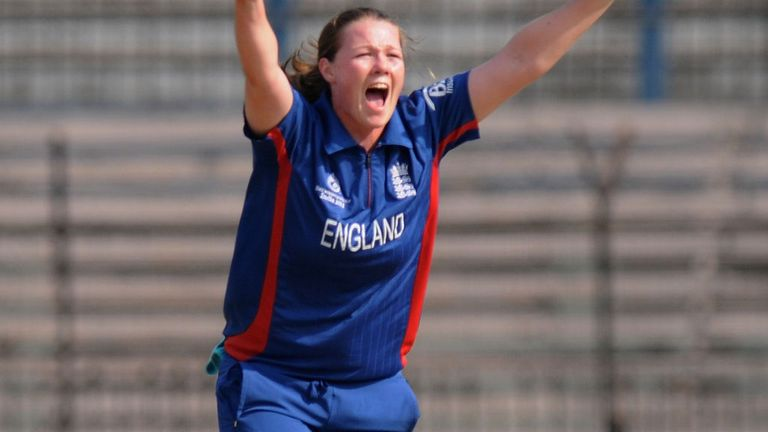 Anya Shrubsole celebrates another South African wicket
