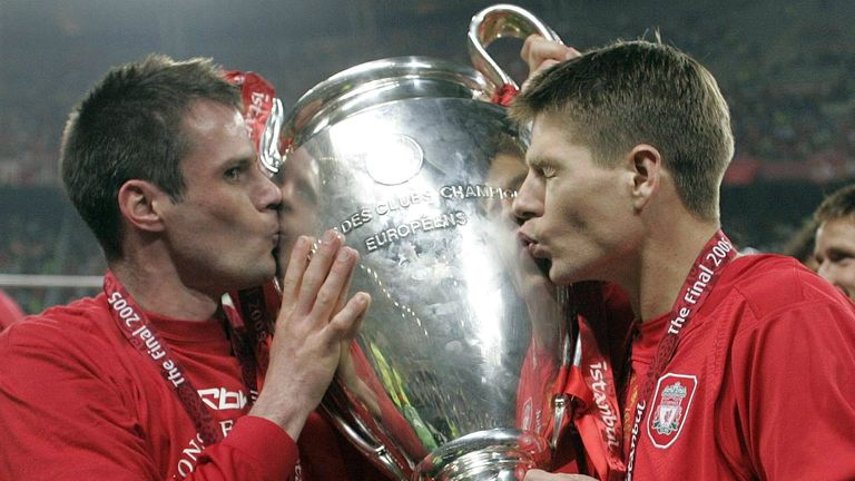 Carragher (left): lifted the Champions League during a fine career with Liverpool