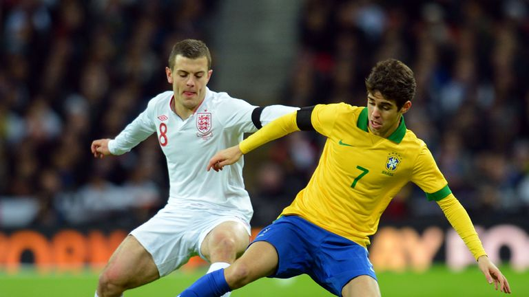 Jack Wilshere: Battles for the ball with Oscar during England's win over Brazil