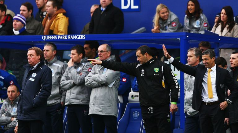 Chris Hughton (far right): Happy with point