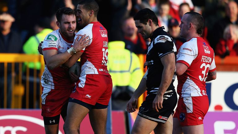 Chris Heil: Is congratulated after scoring one of the Hull KR tries