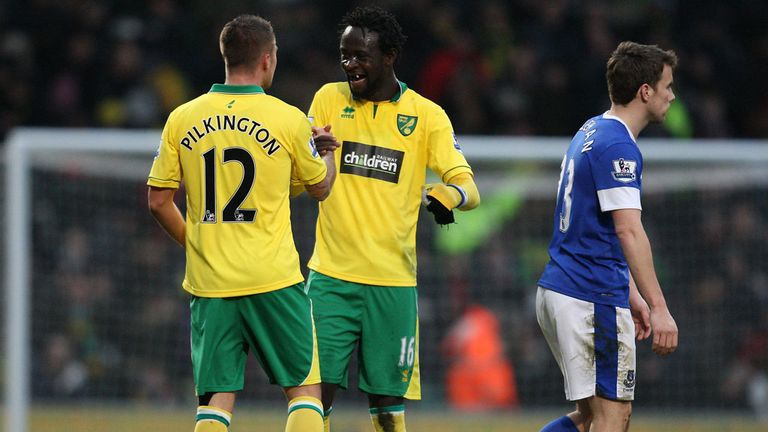 Norwich celebrate after their last-gasp winner at Carrow Road