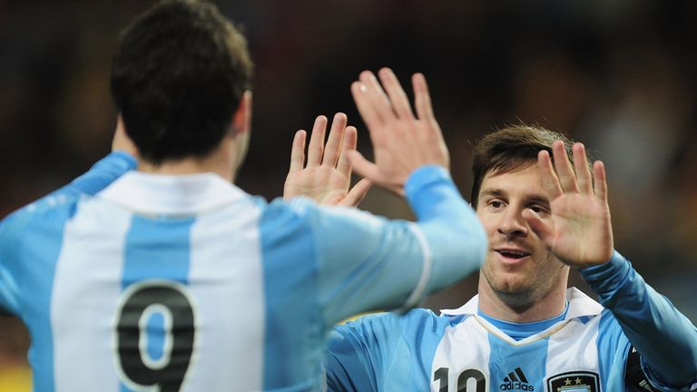 Lionel Messi celebrates during Argentina's victory