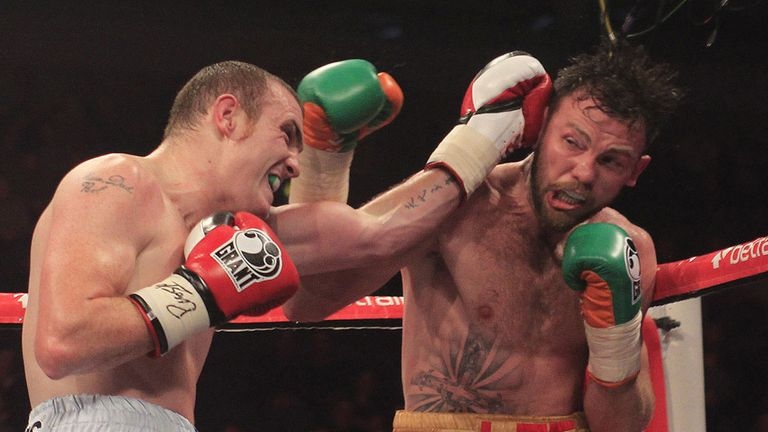 Andy Lee (R) did not have things all his own way against Anthony Fitzgerald (Pic Lawrence Lustig)