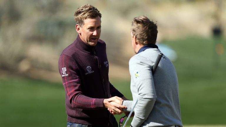 Ian Poulter congratulates Hunter Mahan after the American sealed victory in their semi-final
