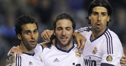 Gonzalo Higuain: Celebrates his strike for Real Madrid