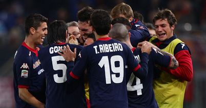 Francesco Pisano: Mobbed by his Cagliari team-mates