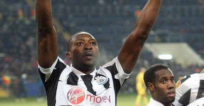 Shola Ameobi: The Newcastle striker celebrates his winning goal