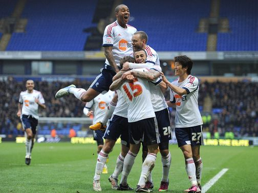 Bolton celebrate during their impressive win over Hull