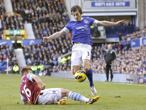 Leighton Baines jumps over Andreas Weimann.