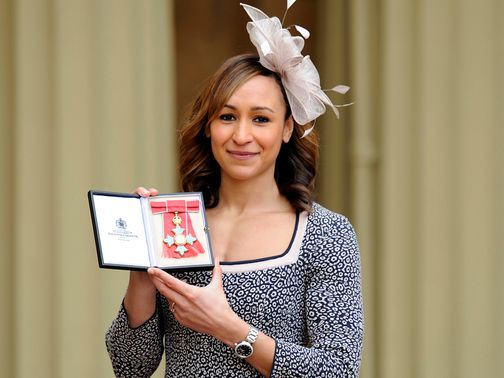 Jessica Ennis CBE poses at Buckingham Palace