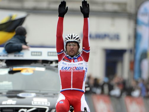 Luca Paolini enjoys his victory,