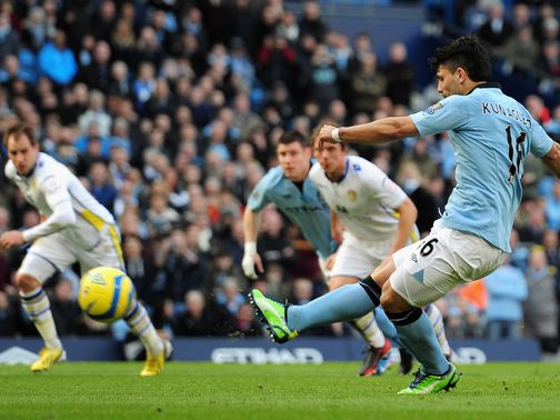 Sergio Aguero scores from the penalty spot,