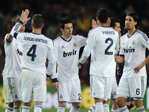 Real Madrid celebrate during their victory at Barcelona