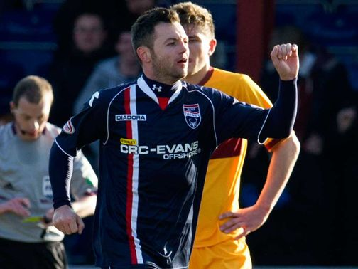 Ivan Sproule celebrates his goal in County&#39;s 3-0 defeat of Motherwell