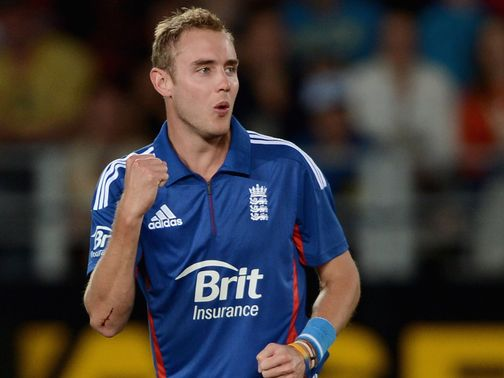 Broad celebrates one of his four wickets