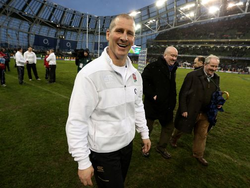 Stuart Lancaster enjoys the win.