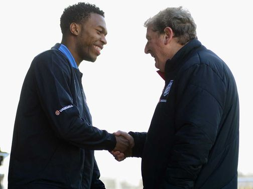 Daniel Sturridge greets Roy Hodgson