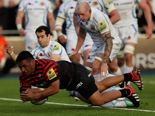 Mako Vunipola scores a try for Sarries