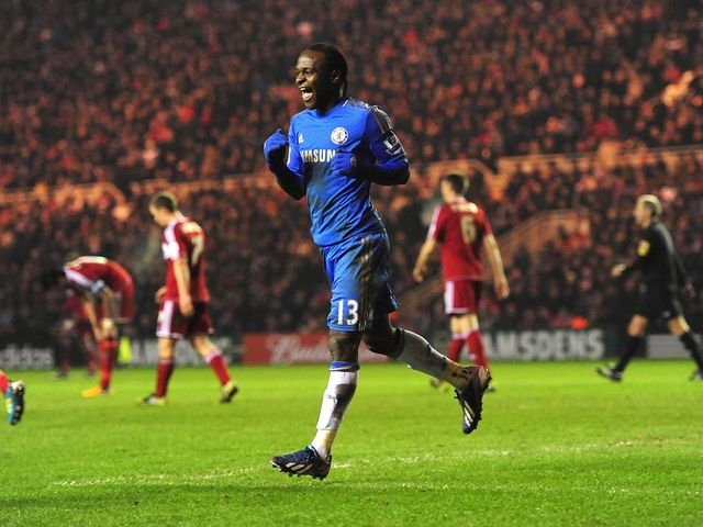 Victor Moses celebrates his goal for Chelsea