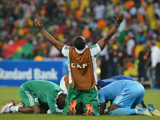 Nigeria celebrate Africa Cup of Nations victory.