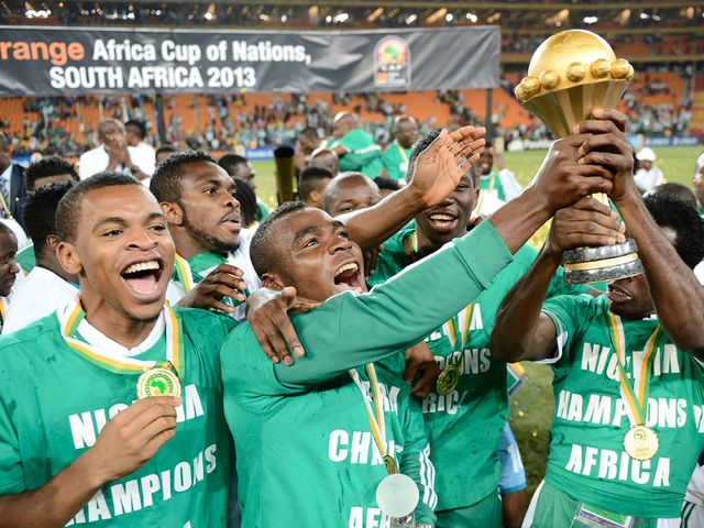 Nigeria celebrate with the Africa Cup of Nations trophy.