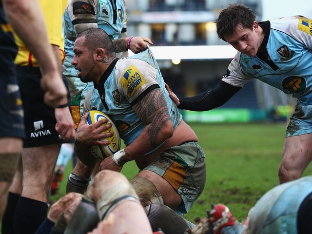 Samu Manoa goes in for a Northampton try