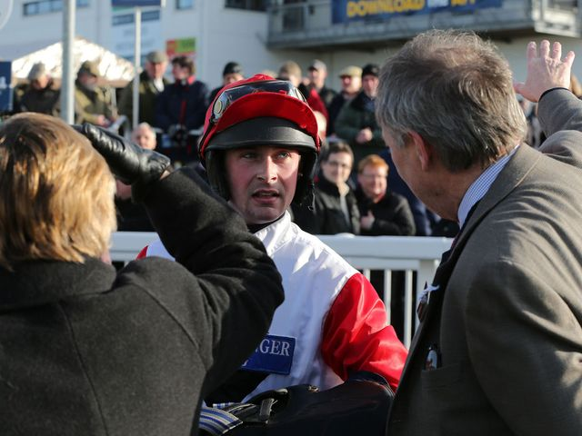 Nico De Boinville talks to winning connections after the race