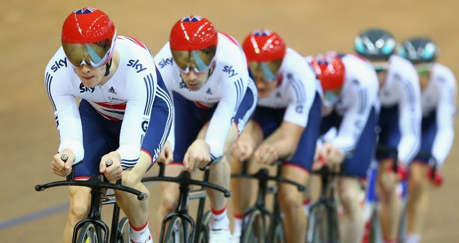 Steven Burke: leads the way for GB pursuit team in Minsk