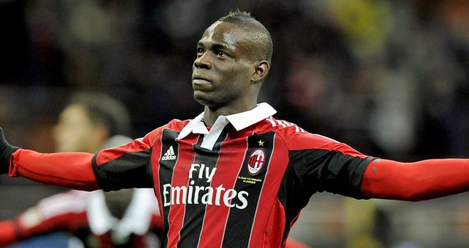 Mario Balotelli: Celebrates one of his goals against Udinese