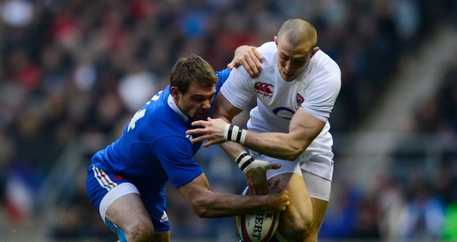 Mike Brown: England centre tussles with Vincent Clerc at Twickenham