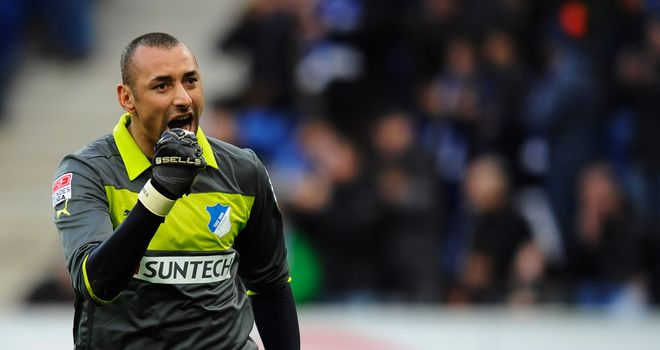 Heurelho Gomes celebrates for his new club