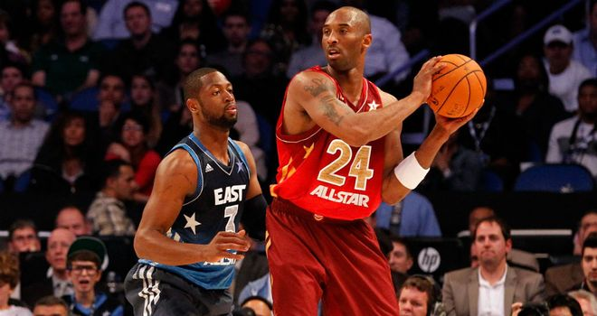 Kobe Bryant (R) and Dwayne Wade at last year's All-Star Game