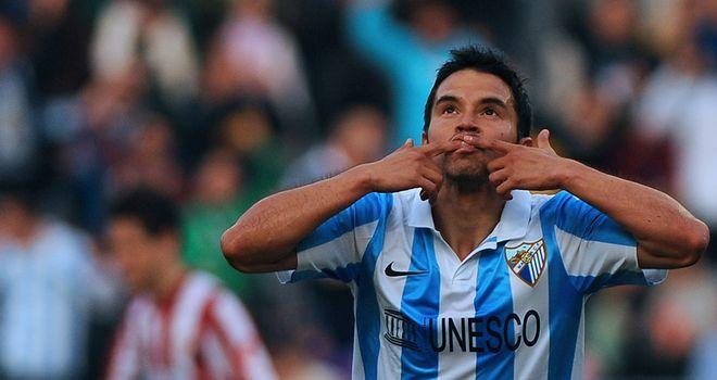 Javier Saviola celebrates his goal.