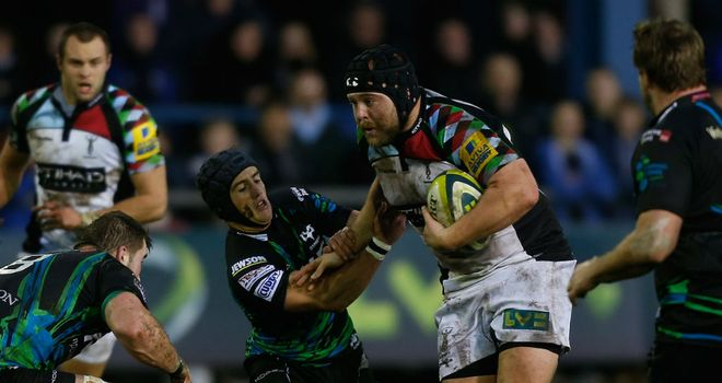 Mark Lambert on the charge for Harlequins