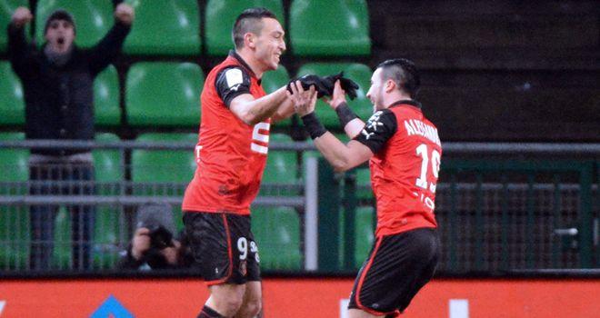 Mevlut Erding Romain and Alessandrini Rennes celebrate