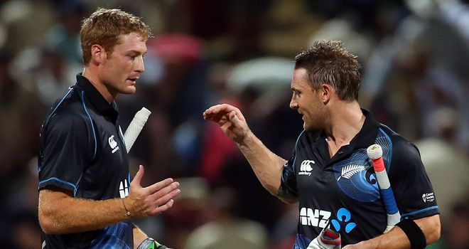 Martin Gupthill (L) and Brendon McCullum took New Zealand home